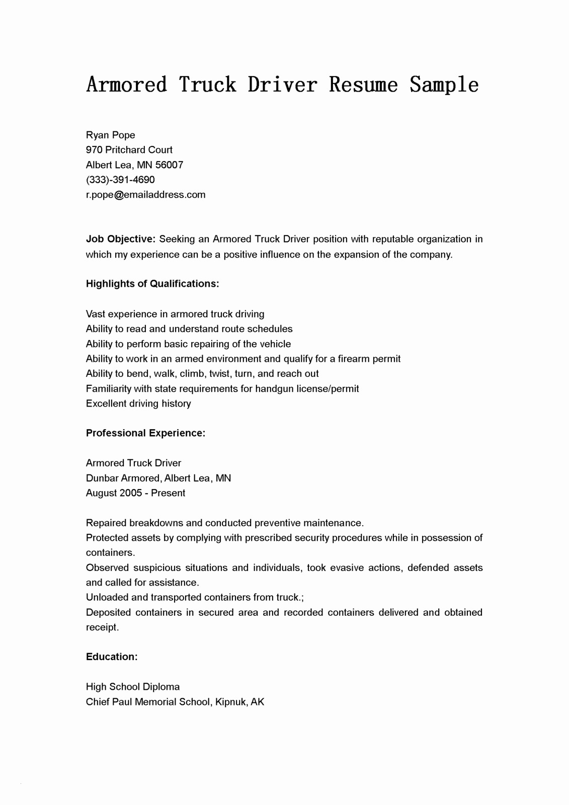 Truck Driver Job Description for Resume - Delivery Driver Skills for Resume Fresh Personal Driver Job