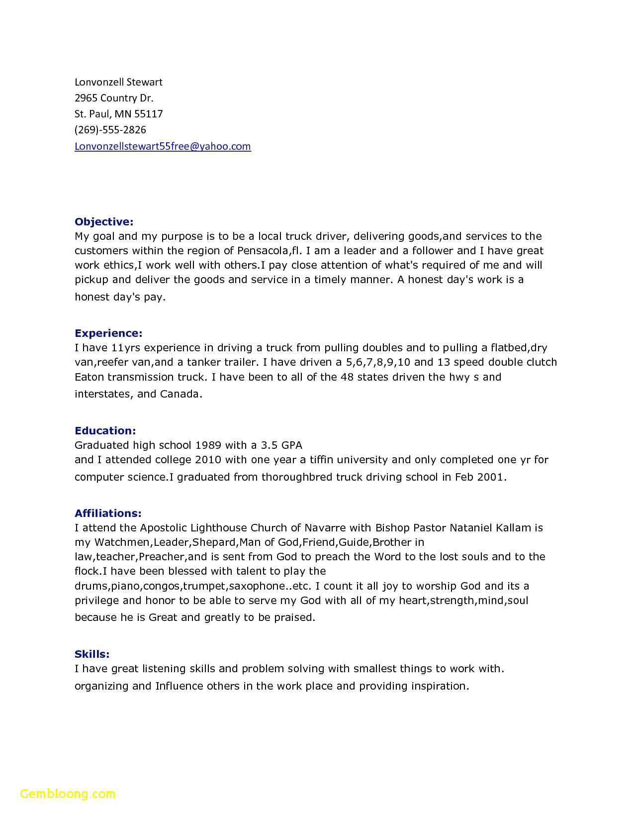 Truck Driver Resume - 61 Awesome Truck Driver Resume
