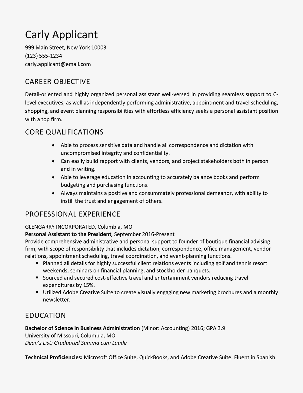 University Of Alabama Resume Template - Personal assistant Resume Sample and Skills List