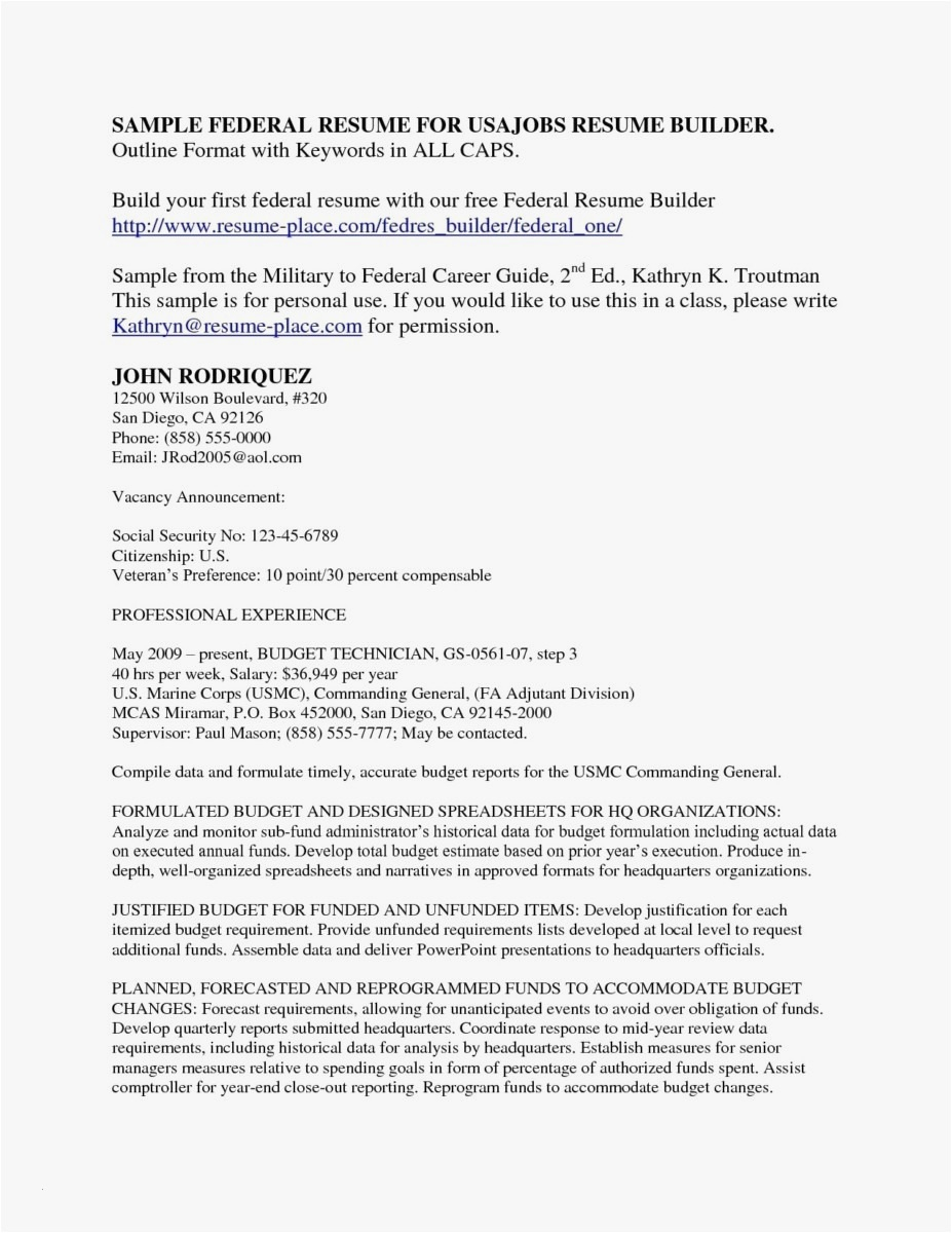 Usajobs Gov Resume Builder - Usa Jobs Resume Examples Awesome 21 Federal Resume format