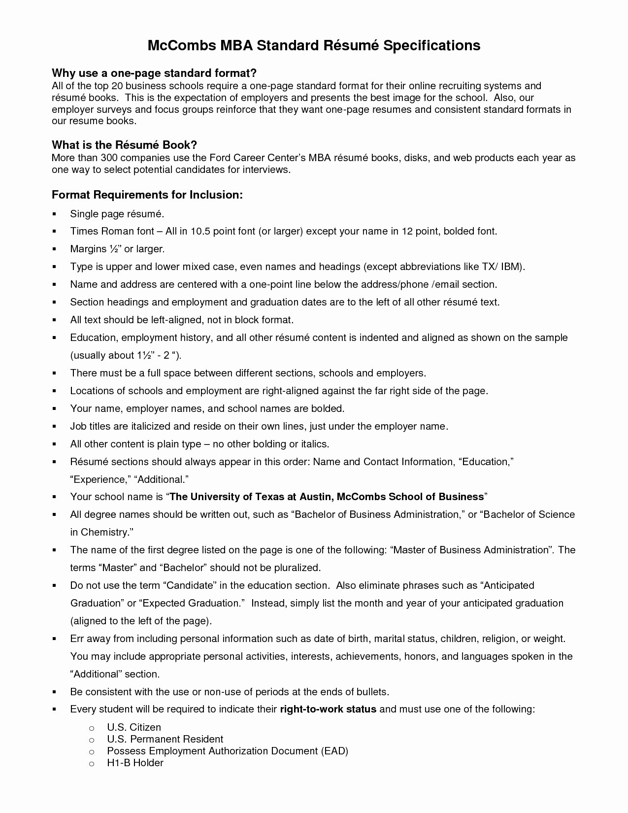 10 ut austin mccombs resume template collection