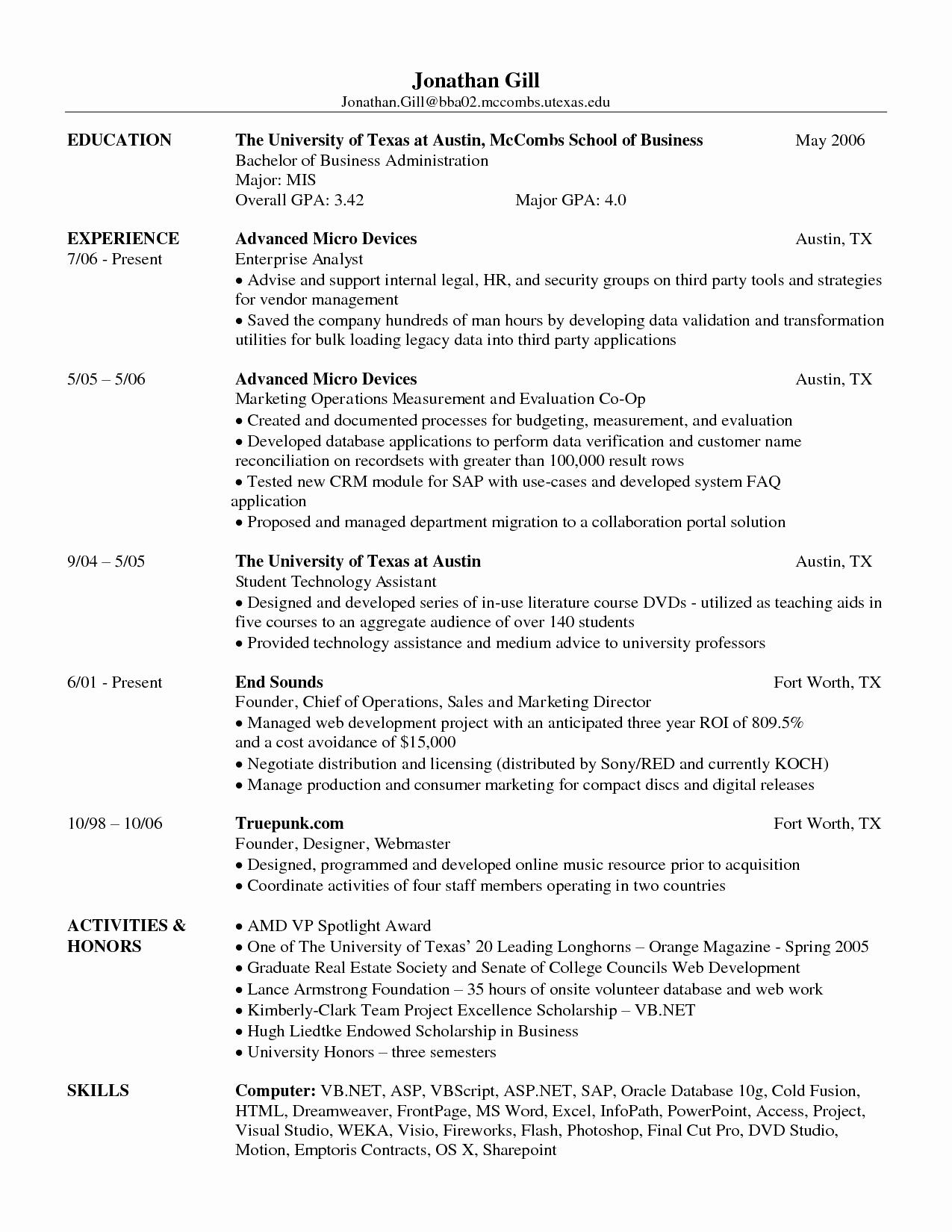 Ut Austin Mccombs Resume Template - Resume format for Bba Graduates Luxury Law Student Resume Template