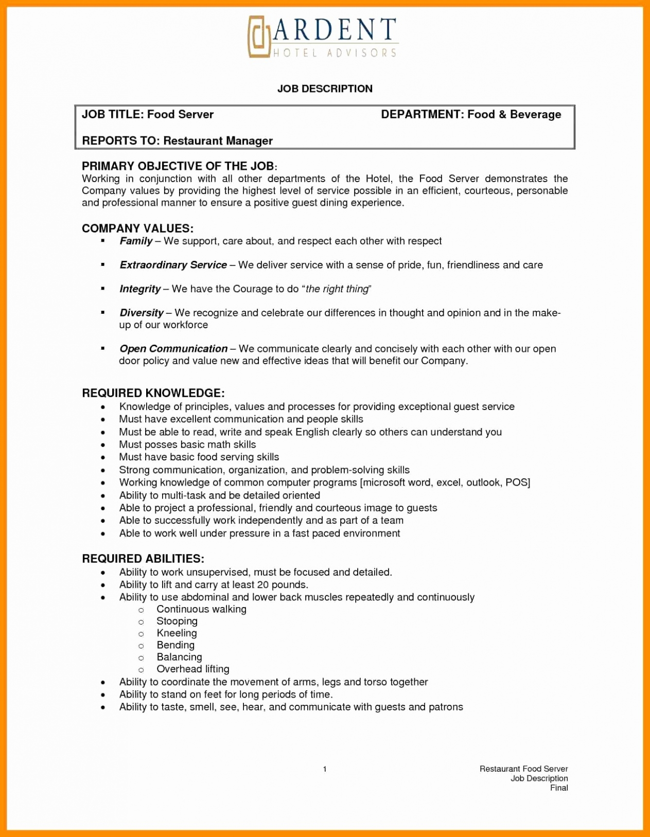 Waitress Job Description for Resume - Waitress Job Description for Resume