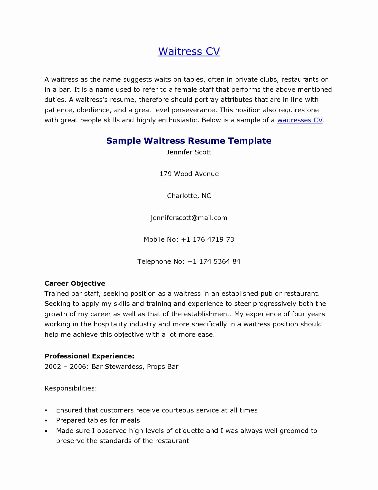 waitress job description for resume Collection-Duties A Waitress To Put A Resume Inspirational Waitress Job Description For Resume Elegant Server Resume Examples 15-a