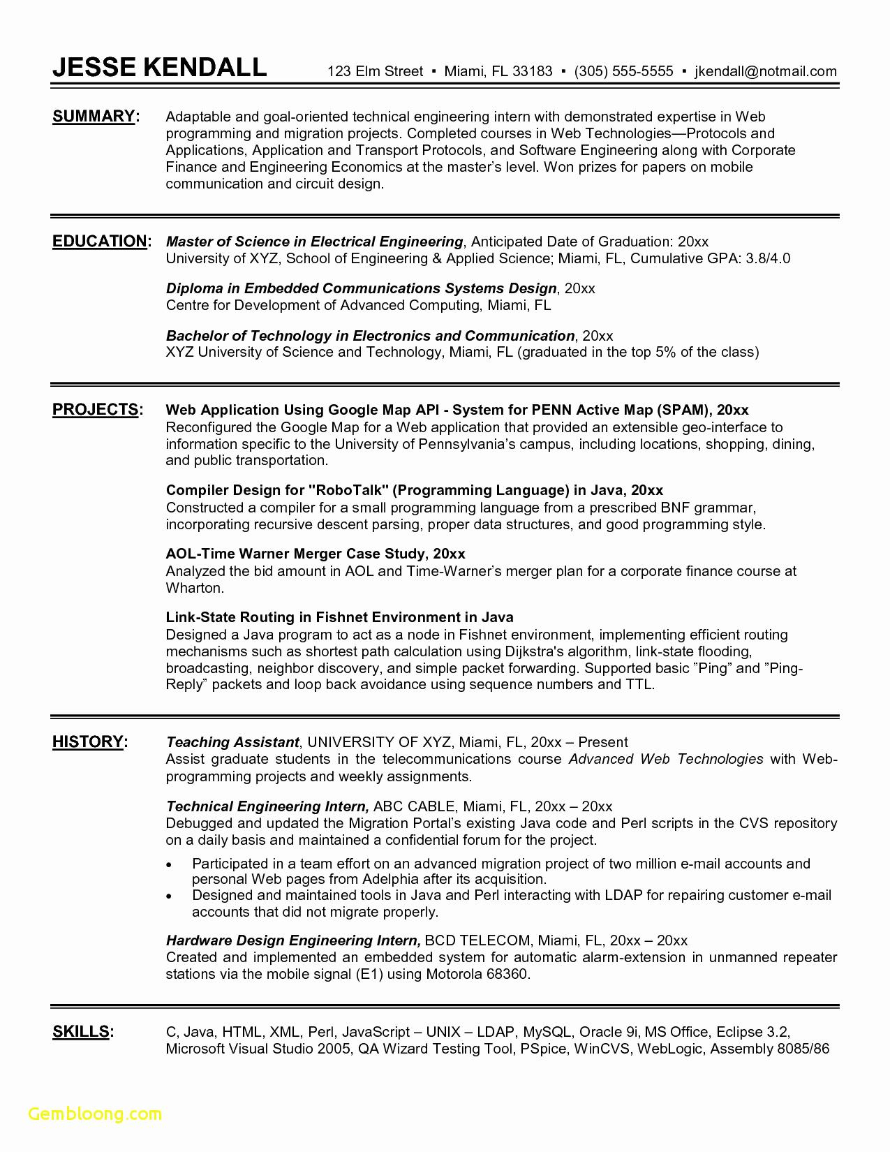 Wharton Resume Template - Civil Engineer Resume format Free Download Lovely Sample Resume for