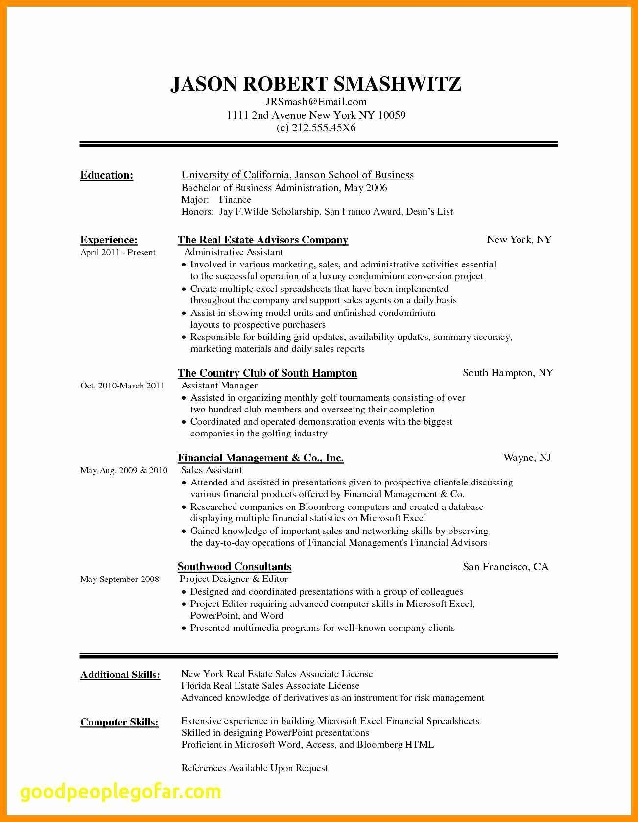 Word Resume Template Free - 16 Fresh Free Resume Templates Microsoft