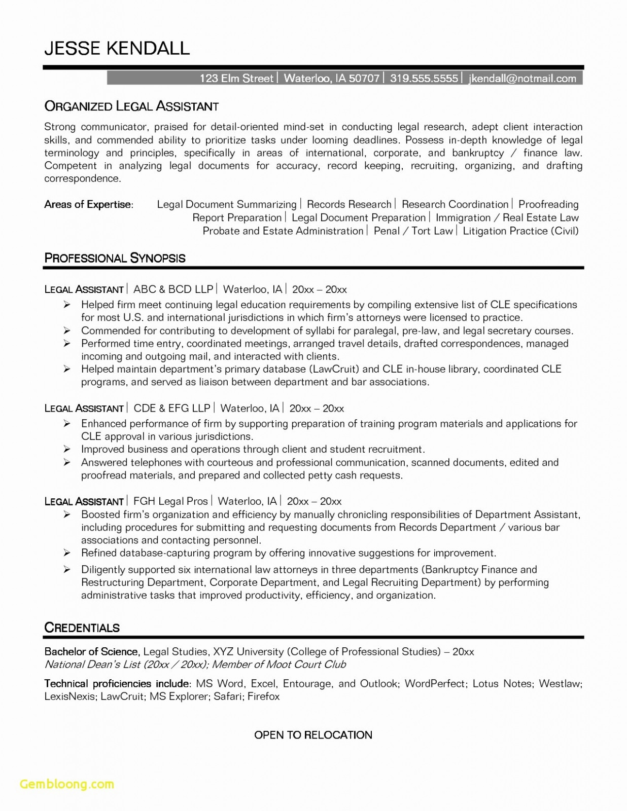 Wordperfect Resume Template - Professional Executive assistant Resume Free Downloads Resume