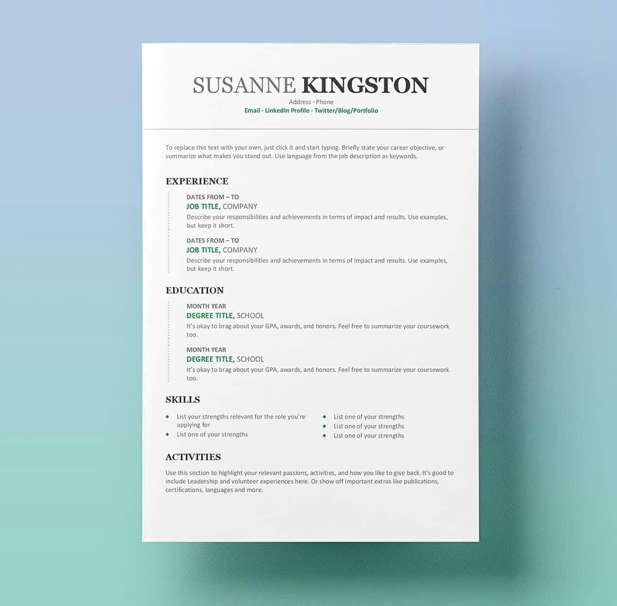 Words to Describe Yourself Resume - 54 Fresh Resume Templates for Word 2010