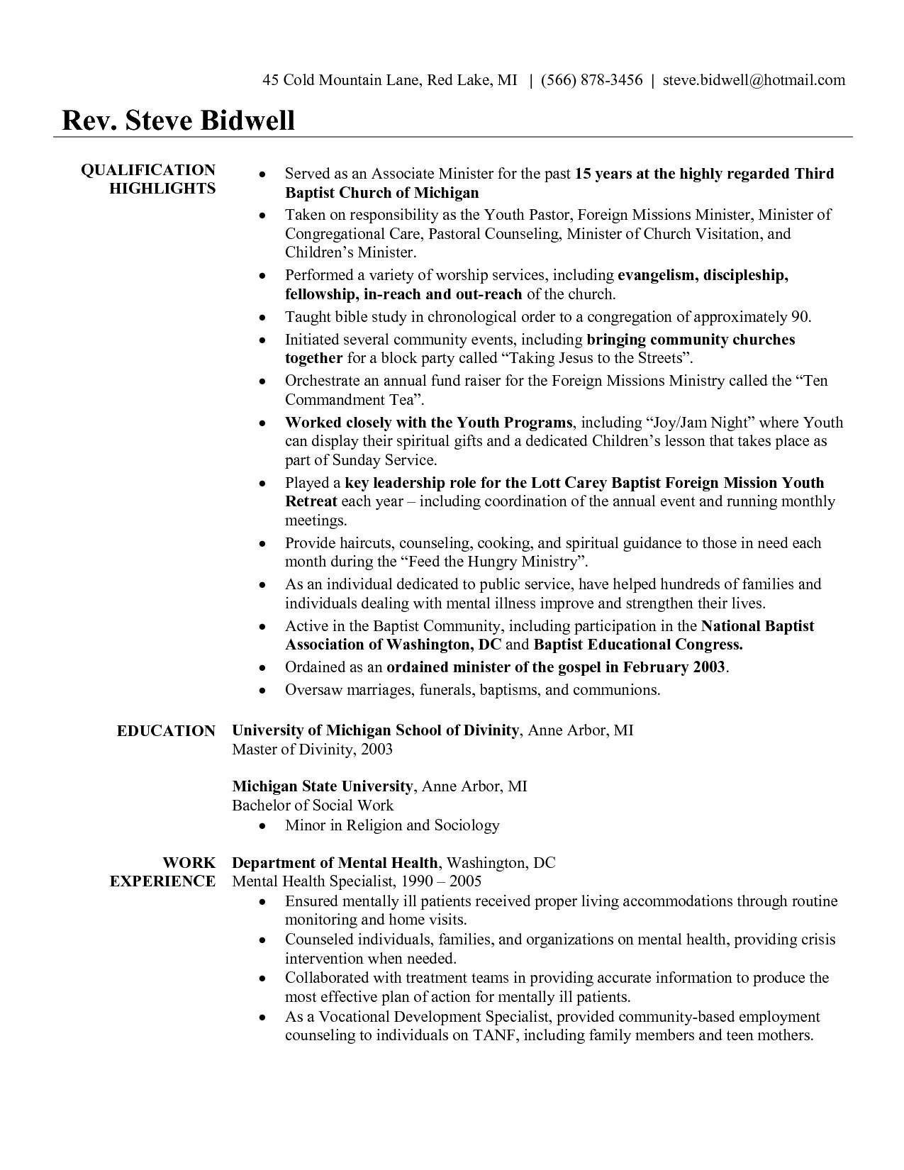 Youth Minister Resume Template - Youth Pastor Resume Awesome Pastor Resume Template Free Unique